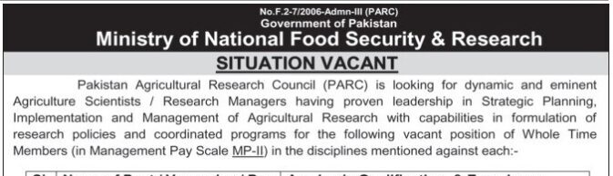 Ministry of National Food Security And Research Jobs