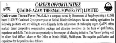 Quaid-e-Azam Thermal Power jobs