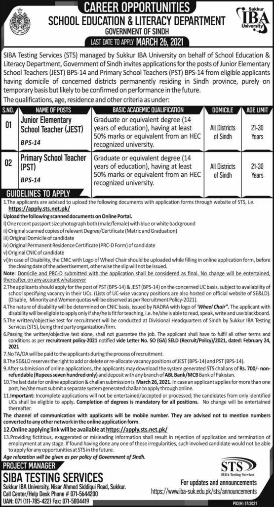 Sindh Teaching Jobs