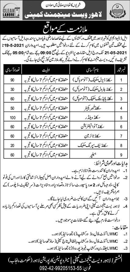 Lahore Waste Management Company jobs
