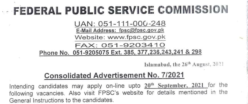 FPSC Jobs Advertisement 2021