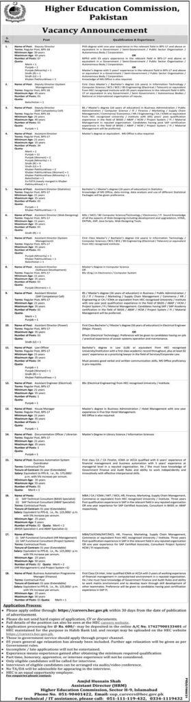 HEC Jobs 2021 Online Apply