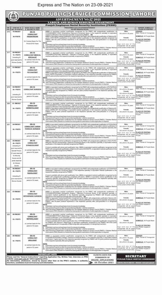 PPSC Jobs Ad No. 272021