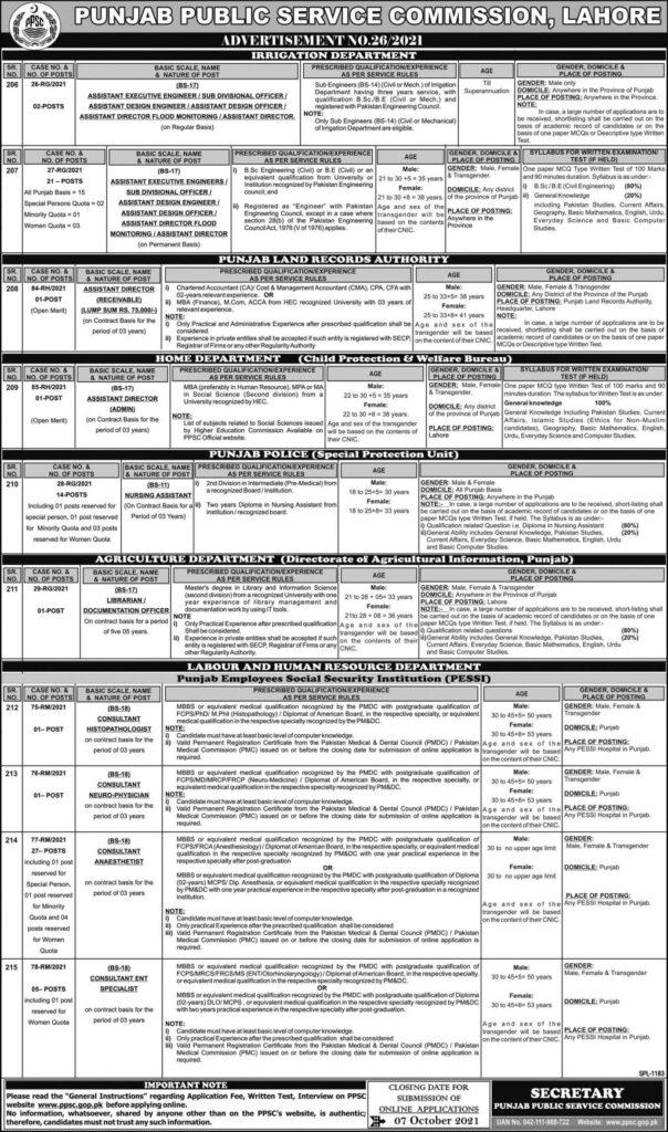 PPSC Jobs Ad No 26/2021