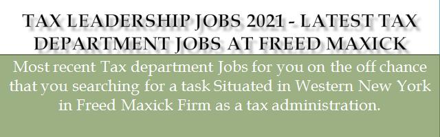 Tax Leadership Jobs