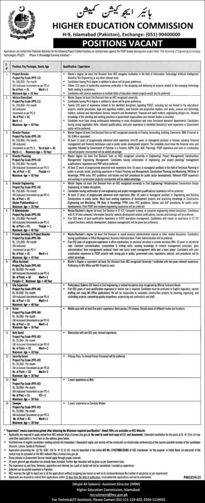 HEC Jobs 2021 Advertisement