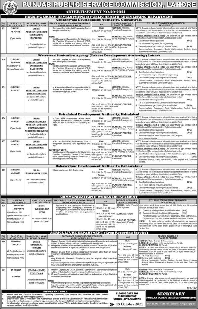 PPSC Jobs Advertisement 29/2021